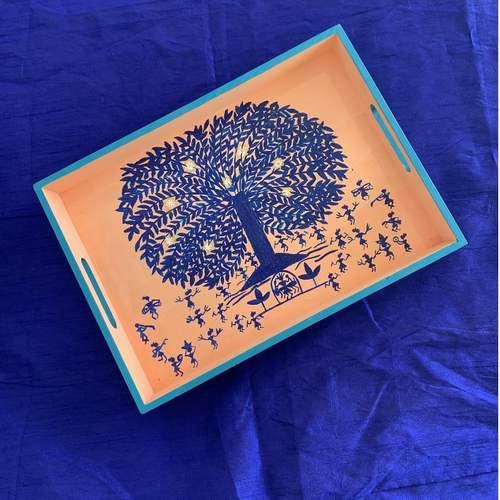 Tray - Blue Tree on Peach base