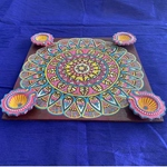 Diya Tray - chocolate brown & pink
