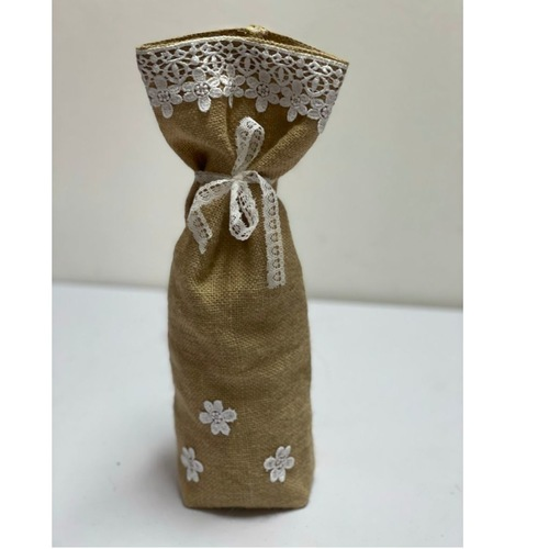 Burlap Bottle Cover with white lace