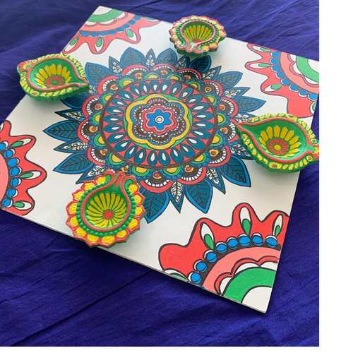 Diya tray - Floral white & multi Color