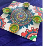 Diya tray - Floral (white & multi Color)
