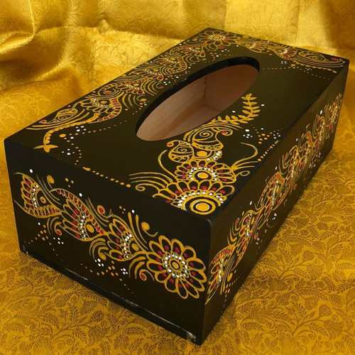 Black Tissue box - Henna art