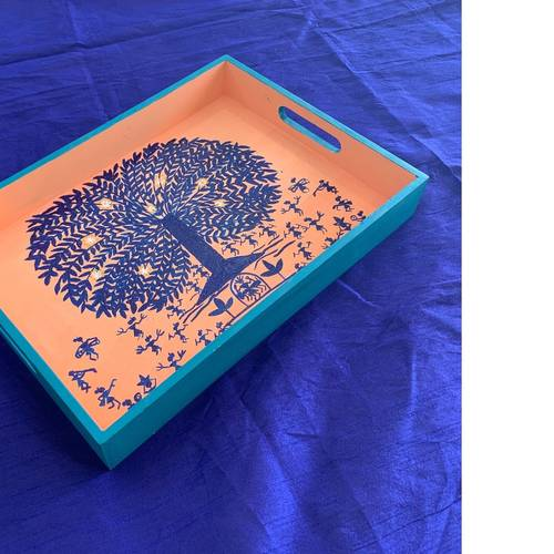 Tray - Blue Tree on Peach base