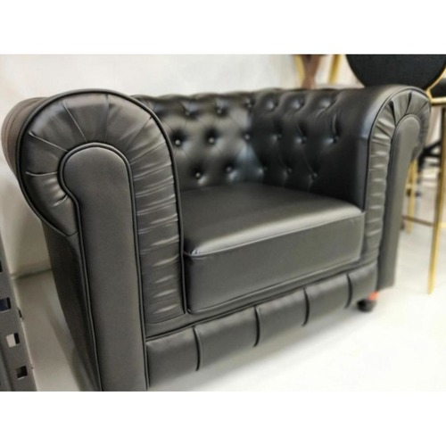(PRE-ORDER) SALVADO II Single Seater Chesterfield Sofa in MATTE BLACK PU - Estimated Delivery in Mid August 2021
