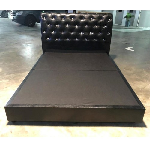 BEWITCHED BLACK Faux Leather Queen Bed Frame