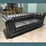 PRE-ORDER SALVADO II 3 Seater Chesterfield Sofa in MATTE BLACK PU - Estimated Delivery in End November 2021