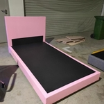 GASTEN II Faux Leather Super Single Bed frame in PINK