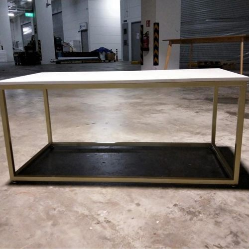 ANDELA Minimalist Marble Coffee Table with Gold Frame