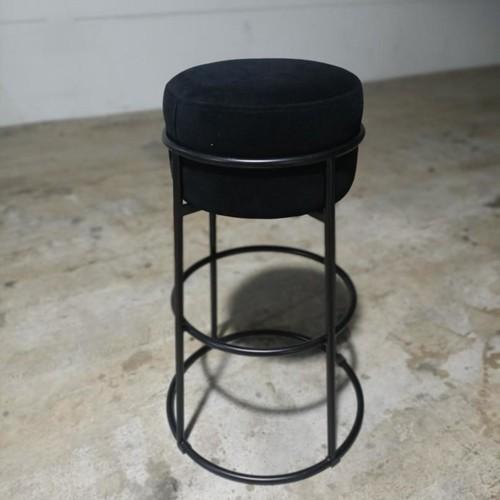 BUTTON Bar Stool in BLACK VELVET