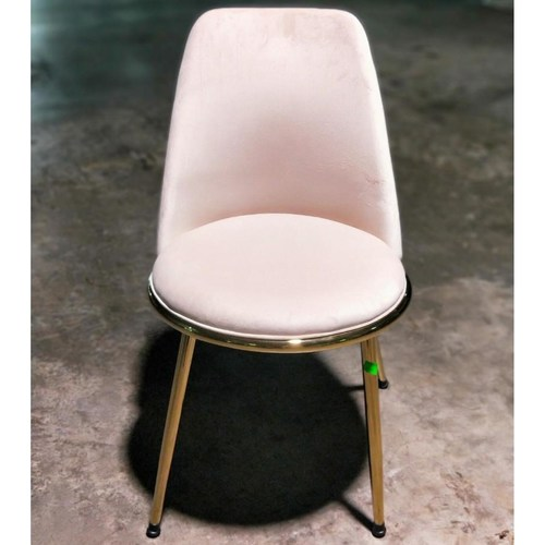 EVIA Modern Dining Chair in BEIGE Velvet with Gold Frame