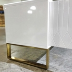 ASTROI LUX Large TV Console in WHITE with Gold Frame
