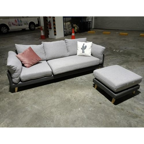 VICERI 3 Seater L- Shaped Sofa with Adjustable Chaise in LIGHT GREY