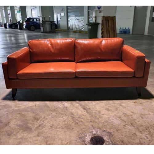 VENZENI 3 Seater Designer Sofa in GLOSS BROWN PU