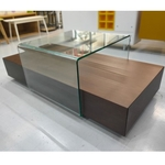 HASHIMOTO Wooden Coffee Table with Sliding Tempered Glass Top