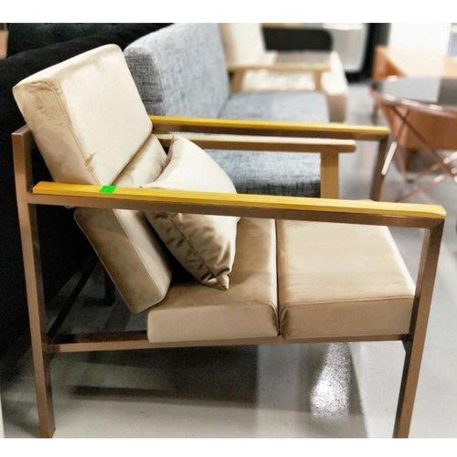 HYUNJU Armchair in Light Brown with TITANIUM GOLD FRAME