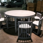 YUAN II ORIENTAL Round Solid Marble Top Dining Table Set with 7 Chairs