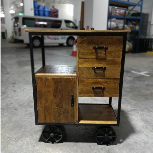 ZIKKA INDUSTRI Series Sideboard with Iron Wheels