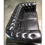 SALVADO II 2 Seater Chesterfield Sofa in GLOSS BLACK PU