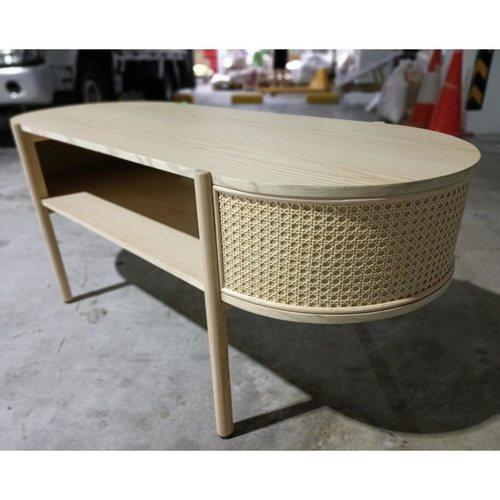 RIGINE RUSTIC Solid Wood Rattan Coffee Table