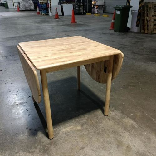 RODETA Flip Down Solid Hevea Wood Dining Table