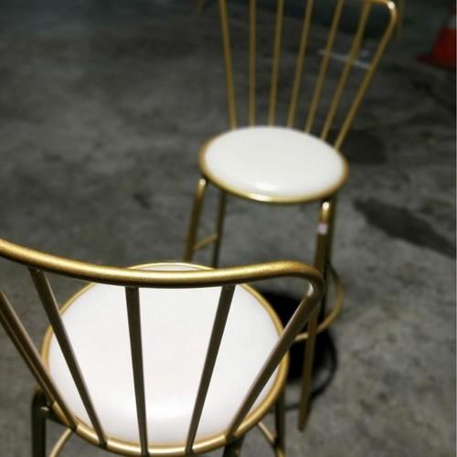 2 x FARRO Contemporary Gold Caged Bar Stool