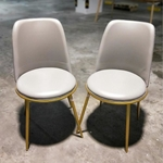 PAIR OF EVIE Dining Chair in GREY PU with GOLD FRAME