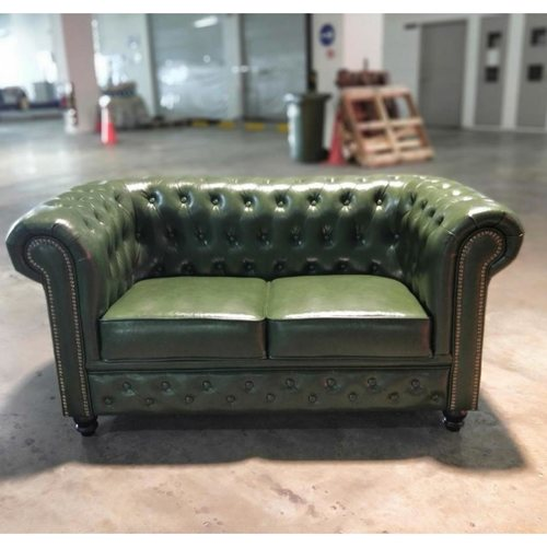 SALVADORE X 2 Seater Chesterfield Sofa in EMERALD GREEN PU