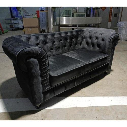 SALVADO II 2 Seater Chesterfield Sofa in VELVET BLACK