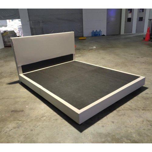GASTEN II Faux Leather Queen Bed frame in BEIGE