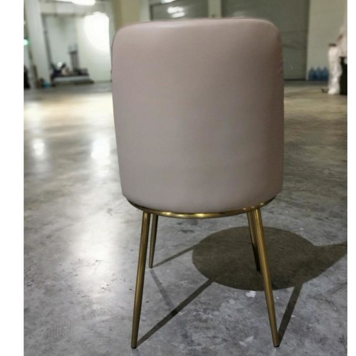 EVIE Modern Dining Chair in BEIGE PU with Gold Frame