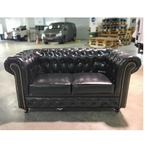 SALVADORE X 2 Seater Chesterfield Sofa in GLOSS BLACK PU
