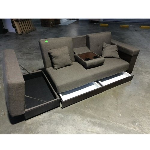 MIKO Storage Sofa Bed in BROWN Fabric