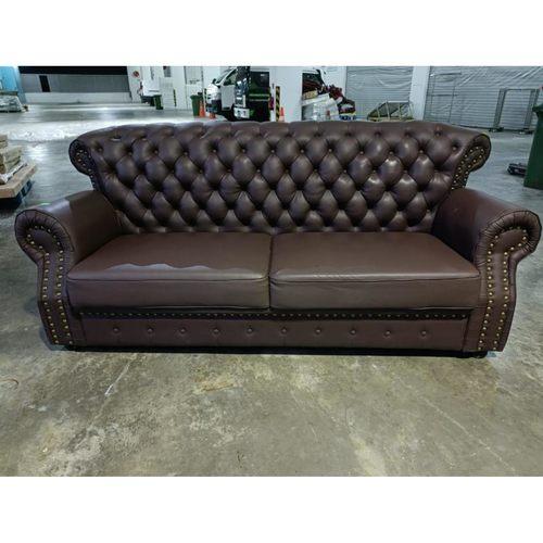 STRADOS Classica Chesterfield 3 Seater Sofa in DARK BROWN