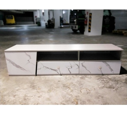 KEILA II TV Console in GREY with White Marble Print