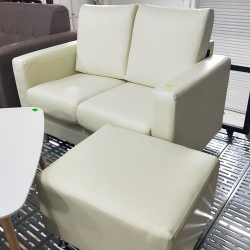 VELENTA 2 Seater Sofa with Ottoman in CREAM WHITE