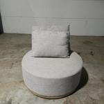 KINDELLA Round Dressroom Ottoman with Grey Fabric