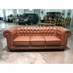 (PRE-ORDER) SALVADO II 3 Seater Chesterfield Sofa in GLOSS BROWN PU - estimated delivery in END Nov 2021