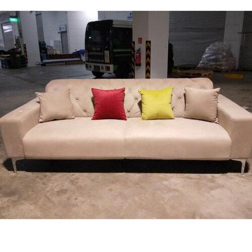 KRON 3 Seater Sofa in Champagne Velvet