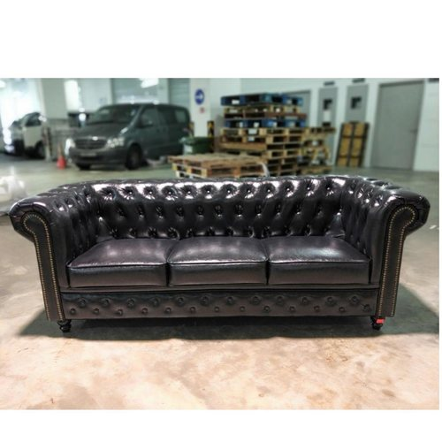 SALVADO II 3 Seater Chesterfield Sofa in GLOSS BLACK PU Leather