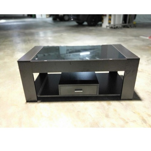 TEVEL Modern Tempered Glass Coffee Table in DARK WALNUT