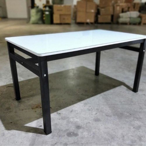 REVAK Modern Tempered White Galaxy Dining Table in BLACK FRAME