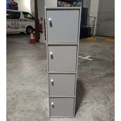 VIMO 4 TIER Shelf with Doors in GREY