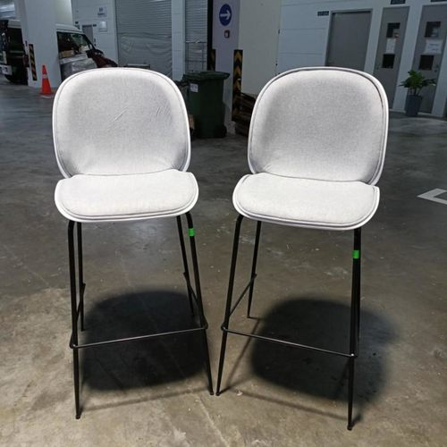 PAIR of VOLKZ Bar Chairs in LIGHT GREY FABRIC and White Back