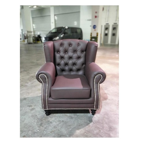 AMANIA Classical Dark Brown PU Arm Chair