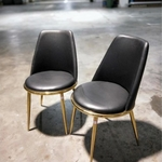 PAIR OF EVIE Dining Chair in BLACK PU with Gold Frame