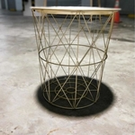 KAYLON Matt Gold Wireframe Side Table with Vintage Top