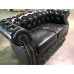 (PRE-ORDER) BOTTEVA 2 Seater Chesterfield Sofa in GLOSS BLACK PU -Estimated for Delivery in Mid August 2021