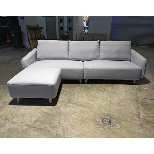 KONEIGSEK 4 Seater Sofa with Ottoman in LIGHT GREY FABRIC