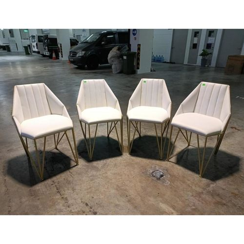 4 piece KRAFT X Frame Dining Chairs in WHITE on GOLD Frame