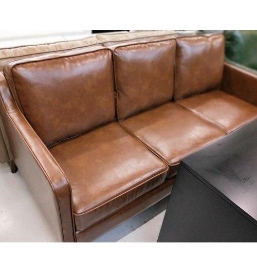 VALENTE 3 Seater Designer Sofa in VINTAGE BROWN PU